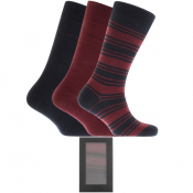 BOSS HUGO BOSS Gift Set Three Pack Socks Burgundy