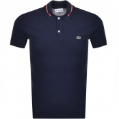 Lacoste Short Sleeved Tipped Polo T Shirt Navy