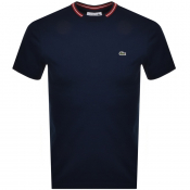 Lacoste Tipped Crew Neck Logo T Shirt Navy