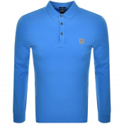 BOSS Casual Long Sleeved Passerby Polo Shirt Blue