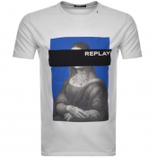 Product Image for Replay Mona Lisa Logo Crew Neck T Shirt White