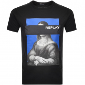 Product Image for Replay Mona Lisa Logo Crew Neck T Shirt Black