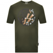 Versace Collection Medusa Logo T Shirt Green