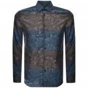 Product Image for Versace Collection Long Sleeved Baroque Shirt Blue