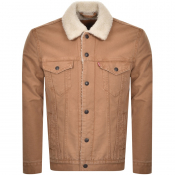 Product Image for Levis Denim Sherpa Trucker Jacket Brown