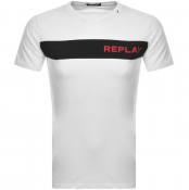 Product Image for Replay Logo Crew Neck T Shirt White