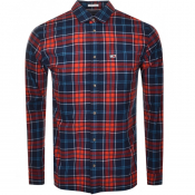 Product Image for Tommy Jeans Long Sleeved Logo Check Shirt Navy