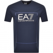 Product Image for EA7 Emporio Armani Box Logo T Shirt Navy