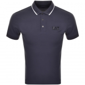 EA7 Emporio Armani Tipped Polo T Shirt Blue