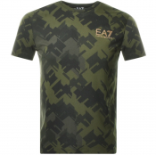 Product Image for EA7 Emporio Armani Camouflage Logo T Shirt Green