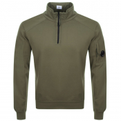 Product Image for CP Company Goggle Half Zip Sweatshirt Khaki