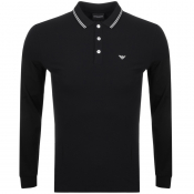 Emporio Armani Long Sleeved Polo T Shirt Black