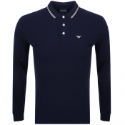 Product Image for Emporio Armani Long Sleeved Polo T Shirt Navy