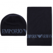 Product Image for Emporio Armani Logo Scarf And Hat Gift Set Navy