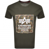 Alpha Industries Camo Logo T Shirt Green