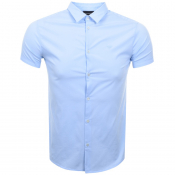 Product Image for Emporio Armani Short Sleeved Slim Fit Shirt Blue
