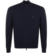 Emporio Armani Full Zip Knit Jumper Blue