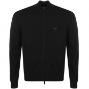 Emporio Armani Full Zip Knit Jumper Black