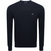 Emporio Armani Crew Neck Knit Jumper Navy
