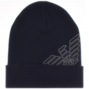 Product Image for Emporio Armani Logo Beanie Hat Navy