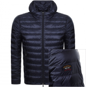 Paul And Shark Full Zip Quilted Hooded Jacket Navy