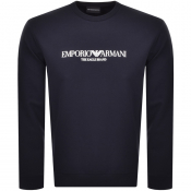 Product Image for Emporio Armani Crew Neck Logo Sweatshirt Navy