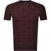 Product Image for Emporio Armani Allover Logo T Shirt Burgundy