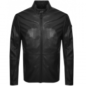 Product Image for Emporio Armani Leather Biker Jacket Black