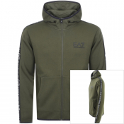 Product Image for EA7 Emporio Armani Full Zip Logo Hoodie Khaki