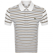 Product Image for Lacoste Short Sleeved Strip Polo T Shirt Cream