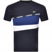 Lacoste Sport Stripe Panel T Shirt Navy