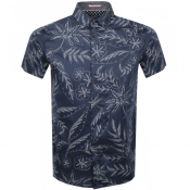 Ted Baker Short Sleeved Damiem Shirt Navy