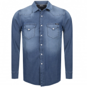 Replay Long Sleeved Denim Shirt Blue