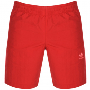 adidas Originals 3 Stripes Swim Shorts Red