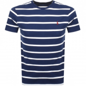Product Image for Ralph Lauren Logo Stripe T Shirt Navy