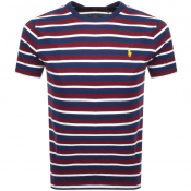 Product Image for Ralph Lauren Logo Stripe T Shirt Burgundy