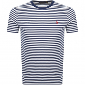 Product Image for Ralph Lauren Logo Stripe T Shirt White
