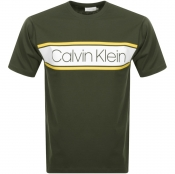 Product Image for Calvin Klein Text Strip Logo T Shirt Khaki