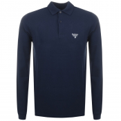 Barbour Beacon Long Sleeved Polo T Shirt Navy