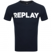 Replay Crew Neck Logo T Shirt Navy