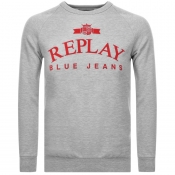 Product Image for Replay Crew Neck Logo Sweatshirt Grey