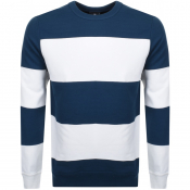 PS By Paul Smith Striped Crew Neck Sweatshirt Navy