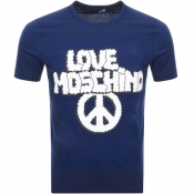 Love Moschino Logo T Shirt Blue