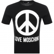 Product Image for Love Moschino Peace Logo T Shirt Black