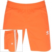 adidas Originals 3 Stripes Swim Shorts Orange