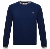 Fred Perry Bold Tipped Crew Neck Sweatshirt Navy