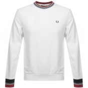 Fred Perry Bold Tipped Crew Neck Sweatshirt White