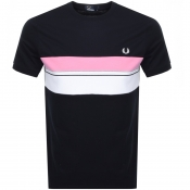 Fred Perry Stripe Logo T Shirt Navy