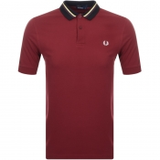 Fred Perry Striped Collar Polo T Shirt Burgundy