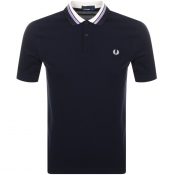 Fred Perry Striped Collar Polo T Shirt Navy